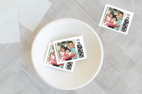 Lettered Feliz Navidad Holiday Stamps