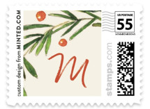 This is a green christmas stamp by Keen Peachy called Evergreen Greeting with standard printing on adhesive postage paper in stamp.