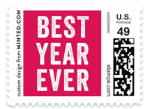 This is a pink christmas stamp by Lea Delaveris called Epic with standard printing on adhesive postage paper in stamp.