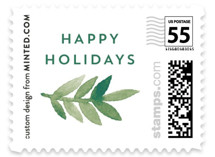 This is a green christmas stamp by Katharine Watson called Watercolor Painted Wreath with standard printing on adhesive postage paper in stamp.