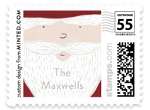 This is a red christmas stamp by Jackie Crawford called Holly Jolly Santa with standard printing on adhesive postage paper in stamp.