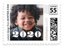 This is a white christmas stamp by Minted called Grunge with standard printing on adhesive postage paper in stamp.