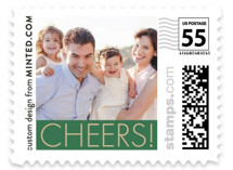This is a beige christmas stamp by Minted called Green Cheers with standard printing on adhesive postage paper in stamp.