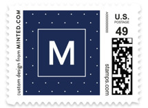 This is a white christmas stamp by Laura Hamm called A Modern Rejoice with standard printing on adhesive postage paper in stamp.