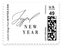 This is a white christmas stamp by Nicoletta Savod called New Year Elegance with standard printing on adhesive postage paper in stamp.
