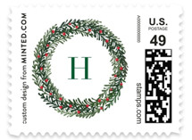 This is a green christmas stamp by Annie Shapiro called Elegant Frame with standard printing on adhesive postage paper in stamp.