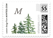 This is a green christmas stamp by Kelsey McNatt called Noel with standard printing on adhesive postage paper in stamp.