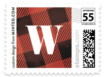 This is a red christmas stamp by Ink and Letter called Plaid Merry with standard printing on adhesive postage paper in stamp.