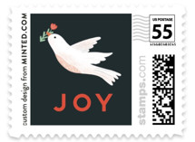 This is a blue christmas stamp by Joanna Griffin called Heaven & Nature with standard printing on adhesive postage paper in stamp.