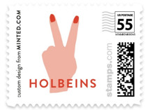 This is a red christmas stamp by Frooted Design called peace out with standard printing on adhesive postage paper in stamp.