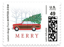 This is a red christmas stamp by Paper Sun Studio called Country Squire with standard printing on adhesive postage paper in stamp.