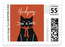 This is a red christmas stamp by Jana Volfova called Cool Cat with standard printing on adhesive postage paper in stamp.