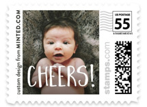 This is a white christmas stamp by Minted called Cheers with standard printing on adhesive postage paper in stamp.