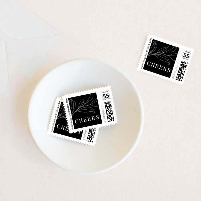 """""""Minimally Stated"""" - Holiday Stamps in Onyx by Everett Paper Goods."""
