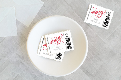 Foiled Merry Holiday Stamps