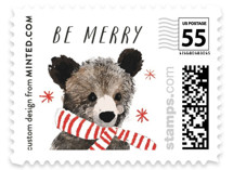 This is a black christmas stamp by Cass Loh called Holiday Bear with standard printing on adhesive postage paper in stamp.