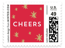 This is a white christmas stamp by Little Print Design called A New Year Cheers with standard printing on adhesive postage paper in stamp.