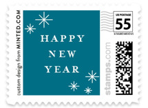 This is a blue christmas stamp by Shirley Lin Schneider called Elegant Cheers with standard printing on adhesive postage paper in stamp.