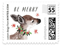 This is a black christmas stamp by Cass Loh called Holiday Deer with standard printing on adhesive postage paper in stamp.