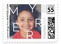 This is a white christmas stamp by Minted called Scattered Merry with standard printing on adhesive postage paper in stamp.