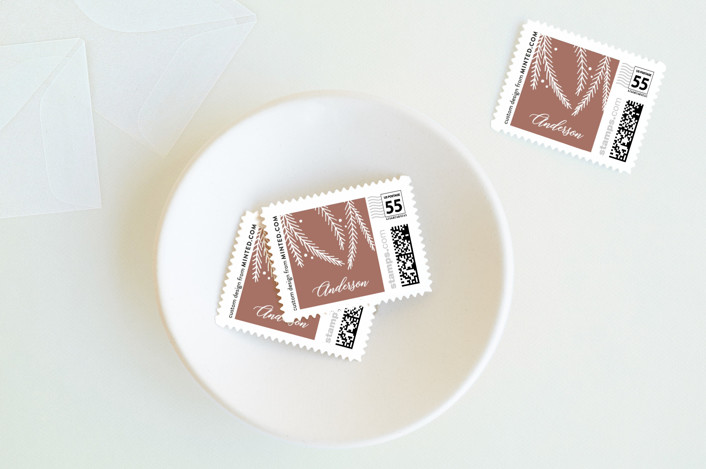 """""""Joy from us"""" - Holiday Stamps in Dusty Rose by The Chatty Press."""