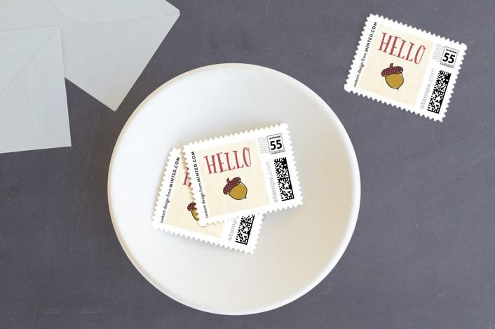 """Taste of Thanksgiving"" - Floral & Botanical, Rustic Holiday Stamps in Creme by frau brandt."