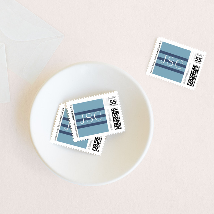 """""""Proper"""" - Holiday Stamps in French Blue by Toast & Laurel."""