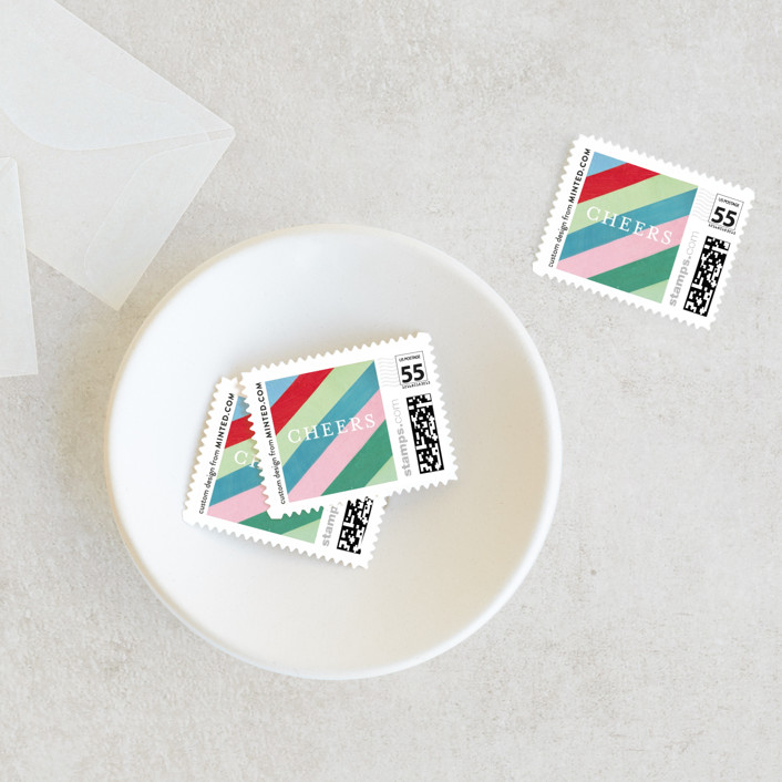 """""""Cheers Diagonal Stripes"""" - Holiday Stamps in Gum Drops by melanie mikecz."""