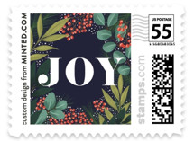 This is a blue christmas stamp by Yaling Hou Suzuki called Holiday Floral Field with standard printing on adhesive postage paper in stamp.