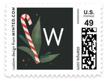 This is a green christmas stamp by Heather Francisco called Peppermint Bouquet with standard printing on adhesive postage paper in stamp.