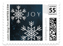 This is a blue christmas stamp by Melanie Kosuge called CRYSTALS with standard printing on adhesive postage paper in stamp.