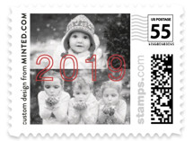 This is a red christmas stamp by Minted called Outline with standard printing on adhesive postage paper in stamp.