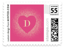 This is a pink christmas stamp by Ana Sharpe called Spreading Our Love with standard printing on adhesive postage paper in stamp.