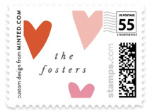 This is a pink christmas stamp by Pixel and Hank called All the Hearts with standard printing on adhesive postage paper in stamp.