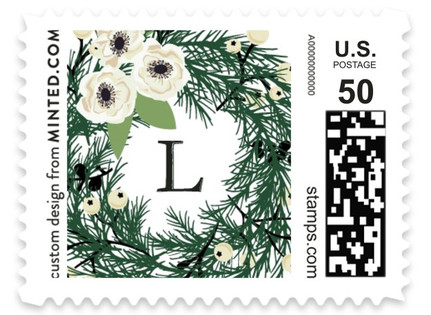 Joyful Evergreen Wreath Holiday Stamps