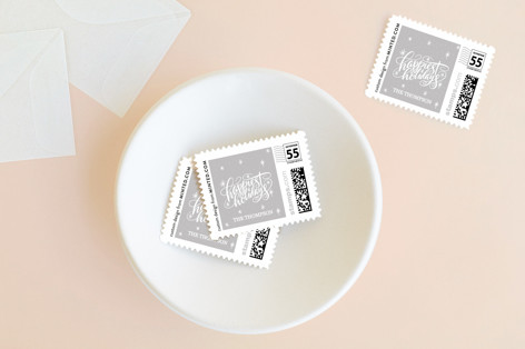 Hand Lettered Happiest Holidays Holiday Stamps
