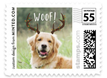 This is a brown christmas stamp by Minted called Woof with standard printing on adhesive postage paper in stamp.