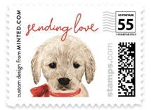 This is a red christmas stamp by Cass Loh called Puppy with standard printing on adhesive postage paper in stamp.