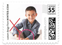 This is a red christmas stamp by Minted called A Big XO with standard printing on adhesive postage paper in stamp.