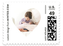 This is a red christmas stamp by Minted called Picture Heart with standard printing on adhesive postage paper in stamp.