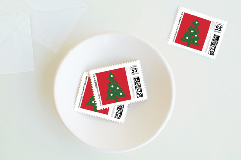Graphic Tree Holiday Stamps