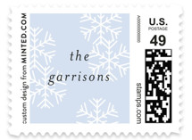 This is a blue christmas stamp by Bonjour Berry called Snowflake Wishes with standard printing on adhesive postage paper in stamp.