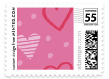 This is a pink christmas stamp by Jennifer Briggs called Adorable Love with standard printing on adhesive postage paper in stamp.