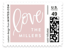 This is a white christmas stamp by Amy Payne called Lettered Love Always with standard printing on adhesive postage paper in stamp.
