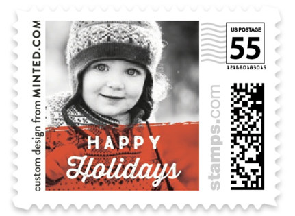 Red Happy Holidays Holiday Stamps