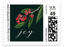 This is a green christmas stamp by Susan Moyal called Wisp of Green with standard printing on adhesive postage paper in stamp.