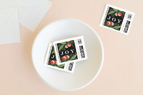 Greeting Card Floral Holiday Stamps