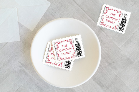 Red Wreath Holiday Stamps