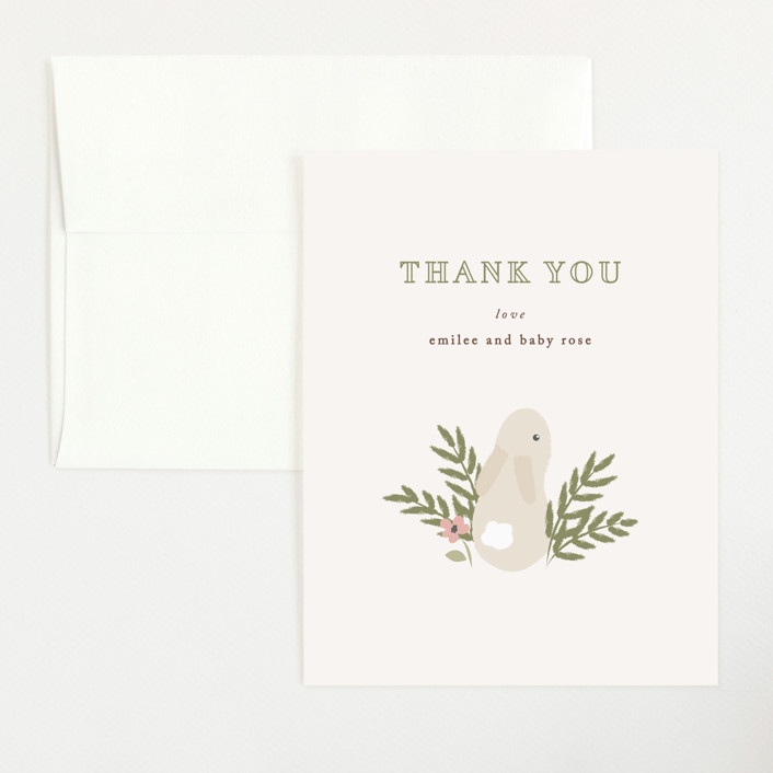 """petit lapin"" - Flat Baby Shower Thank You Cards in Cream by Angela Garrick."