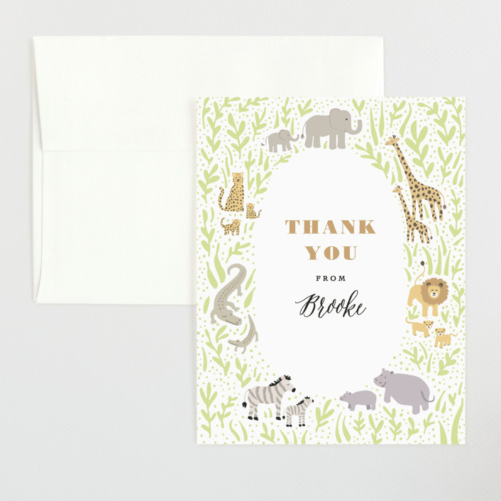 """""""Savannah animals"""" - Flat Baby Shower Thank You Cards in Sage by Jennifer Wick."""